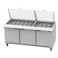 Beverage-Air SPE72HC-30M-CL Elite 72 inch 3 Door Mega Top Refrigerated Sandwich Prep Table