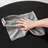 Rubbermaid 1863888 HYGEN Sanitizer Safe 12 inch x 12 inch Gray Microfiber Cloth - 12/Pack