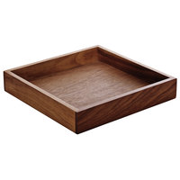 Playground 742890091000000 Ananti 7 3/4 inch Walnut Wood Short Square Tray / Stand