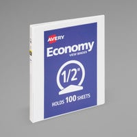 Avery 05750 White Economy View Binder with 1/2 inch Round Rings