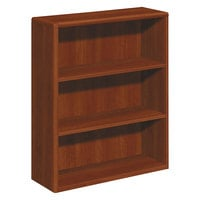 HON 10753CO 10700 Series Cognac Wood 3-Shelf Bookcase - 36 inch x 13 1/8 inch x 43 3/8 inch