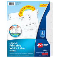Avery 14437 Big Tab 8-Tab White Paper Easy Peel Label Divider Set