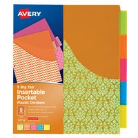 Avery 07714 Big Tab 5-Tab Insertable Assorted Design Plastic Divider Set with Pockets - 5/Set
