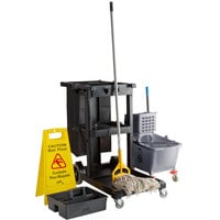 Lavex Janitorial Black Cleaning / Janitor Cart Kit with Gray Mop Bucket, Wet Floor Sign, Mop, and Caddy