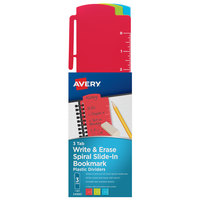 Avery 24980 3-Tab Assorted Color Spiral Slide-In Write & Erase Plastic Bookmark Divider Set