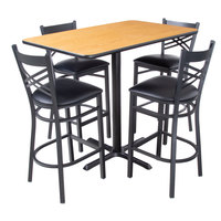 Lancaster Table & Seating 30 inch x 48 inch Reversible Walnut / Oak Bar Height Dining Set - With (4) Padded Seat Natural Eagle Back Barstools