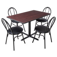 Lancaster Table & Seating 30 inch x 48 inch Reversible Cherry / Black Standard Height Dining Set - With (4) Padded Seat Mahogany Eagle Back Chairs
