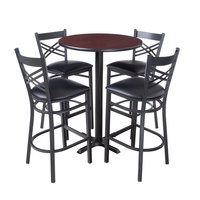Lancaster Table & Seating 30 inch Round Reversible Cherry / Black Bar Height Dining Set - With (4) Padded Seat Mahogany Eagle Back Barstools