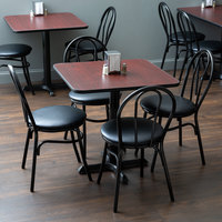 Lancaster Table & Seating 30 inch x 30 inch Reversible Cherry / Black Standard Height Dining Set - With (4) Padded Seat Mahogany Eagle Back Chairs