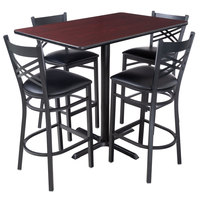 Lancaster Table & Seating 30 inch x 48 inch Reversible Cherry / Black Bar Height Dining Set - With (4) Padded Seat Mahogany Eagle Back Barstools