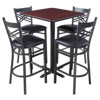 Lancaster Table & Seating 30 inch x 30 inch Reversible Cherry / Black Bar Height Dining Set - With (4) Padded Seat Mahogany Eagle Back Barstools