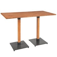 Lancaster Table & Seating 30 inch x 60 inch Solid Wood Live Edge Bar Height Table with Antique Natural Finish