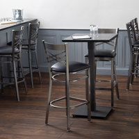 Lancaster Table & Seating 24 inch Square Solid Wood Live Edge Bar Height Table with Antique Slate Gray Finish