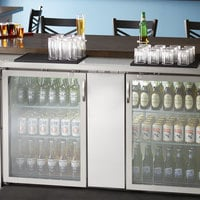 Avantco UBB-3G-HC 69 inch Stainless Steel Counter Height Glass Door Back Bar Refrigerator with LED Lighting