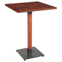 Lancaster Table & Seating 30 inch Square Solid Wood Live Edge Bar Height Table with Mahogany Finish