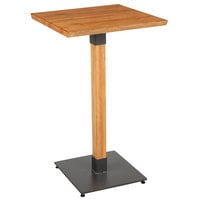 Lancaster Table & Seating 24 inch Square Solid Wood Live Edge Bar Height Table with Antique Natural Finish