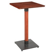 Lancaster Table & Seating 24 inch Square Solid Wood Live Edge Bar Height Table with Mahogany Finish