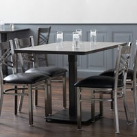 Lancaster Table & Seating 30 inch x 48 inch Solid Wood Live Edge Dining Height Table with Antique Slate Gray Finish