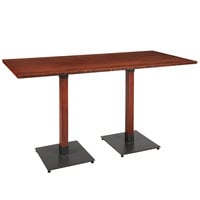 Lancaster Table & Seating 30 inch x 72 inch Solid Wood Live Edge Bar Height Table with Mahogany Finish