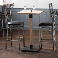 Lancaster Table & Seating 24 inch Square Solid Wood Live Edge Bar Height Table with Antique White Wash Finish