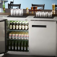 Avantco UBB-2-HC 59 inch Stainless Steel Counter Height Solid Door Back Bar Refrigerator with LED Lighting