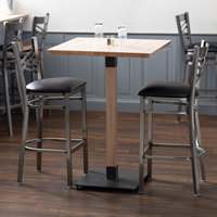 Lancaster Table & Seating 30 inch Square Solid Wood Live Edge Bar Height Table with Antique White Wash Finish