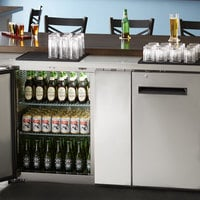 Avantco UBB-3-HC 69 inch Stainless Steel Counter Height Solid Door Back Bar Refrigerator with LED Lighting