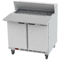 Beverage-Air SPE36HC-10C 36 inch 2 Door Cutting Top Refrigerated Sandwich Prep Table with 17 inch Wide Cutting Board