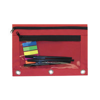 "Advantus 94037 9 1/2"" x 7"" Red Double Pocket Binder Pouch with Clear Plastic Front - 6/Pack"