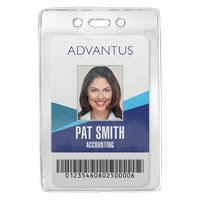 Advantus 75419 3 3/8 inch x 4 1/4 inch Clear Vertical Security ID Badge Holder - 50/Box