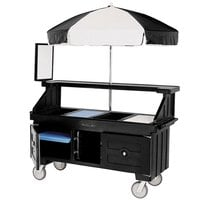 Cambro CVC72110 Camcruiser Black Vending Cart with Umbrella and 3 Counter Wells