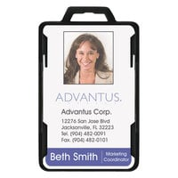 Advantus 76417 3 3/8 inch x 2 1/8 inch Black Rigid Two-Badge Blocking Smart Card Holder - 20/Pack