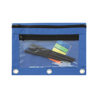 "Advantus 94038 9 1/2"" x 7"" Blue Double Pocket Binder Pouch with Clear Plastic Front - 6/Pack"