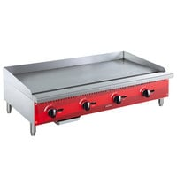 Avantco AG48MG 48 inch Countertop Gas Griddle with Manual Controls - 120,000 BTU