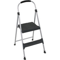 Cosco 11311ABL1E Platinum / Black Two-Step Folding Step Stool with Handrail