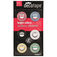 Chartpak DEC001 Deco Bright Assorted Colors 1/8 inch x 324 inch Glossy Decorative Tape   - 6/Pack