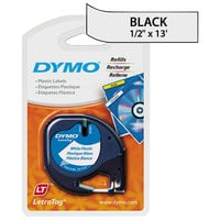 "DYMO 91331 LetraTag 1/2"" x 13' White Plastic Label Tape"