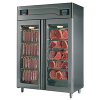 Maturmeat 58 inch Glass Door Stainless Steel Meat Aging and Curing Cabinet - 220 lb. + 220 lb. / 100 kg. + 100 kg., 220V, 3700W