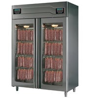"Stagionello 58"" Glass Door Stainless Steel Twin Meat Curing Cabinet - 220 lb. + 220 lb. / 100 kg. + 100 kg., 220V, 3210W"