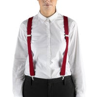 Henry Segal 1 1/8 inch Red Elastic Clip-End Suspenders