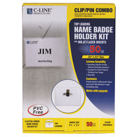"C-Line Products 95723 3 1/2"" x 2 1/4"" Clear Top Load Clip-On / Pin Name Badge Holder Kit with Inserts"