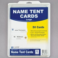"C-Line 87517 11"" x 4 1/4"" White Scored Tent Card - 50/Box"