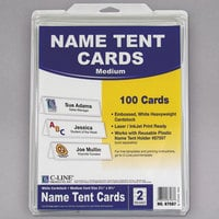"C-Line 87587 2 1/2"" x 8 1/2"" Embossed White Tent Card - 100/Box"