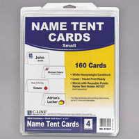 "C-Line 87527 2"" x 3 1/2"" White Scored Tent Card - 160/Box"