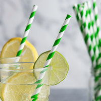 EcoChoice 7 3/4 inch Green Stripe Jumbo Unwrapped Paper Straw - 4800/Case