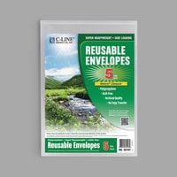 "C-Line 35107 9 3/8"" x 13"" Clear Reusable Poly Envelope with Hook and Loop Closure - 5/Pack"