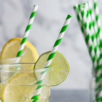 EcoChoice 7 3/4 inch Green Stripe Jumbo Unwrapped Paper Straw - 2400/Pack