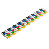 EcoChoice 7 3/4 inch Assorted Stripe Jumbo Unwrapped Paper Straw - 4800/Case