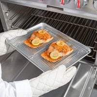 Choice Half Size 19 Gauge 13 inch x 18 inch Wire in Rim Aluminum Sheet Pan with Half Size 12 inch x 16 inch Footed Cooling Rack / Pan Grate