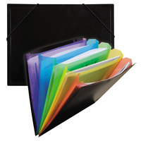 C-Line 59011 Letter Size Black / Rainbow 5-Pocket Document Sorter / Case with 5 inch Expansion